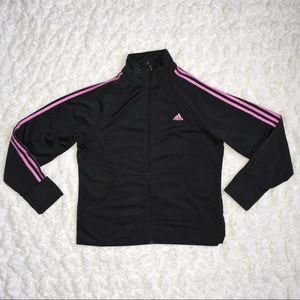Adidas Black and Pink Striped Jacket